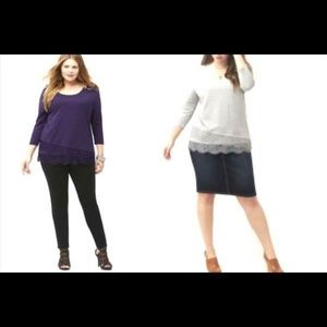 Lane Bryant Women Lace Hem Tee Top Purple 14-16